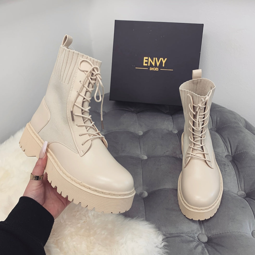 PENNY NUDE KNITTED BIKER BOOTS