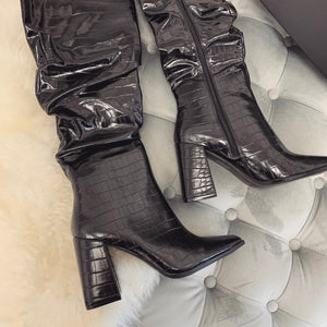 ELEANOR BLACK CROC RUCHED KNEE HIGH BOOTS
