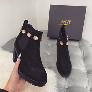 REGINA SUEDE BLACK JEWEL HEELED BOOTS