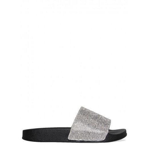 Envy Shoes Abbey Black Diamante Sliders