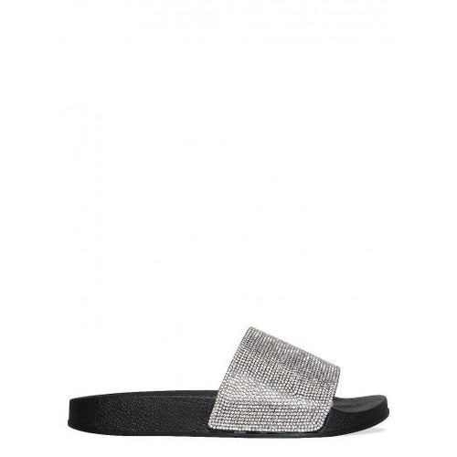 MINI ABBEY BLACK DIAMANTE SLIDES
