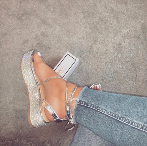 PIPPA SILVER LACE UP ESPADRILLE FLATFORMS (dispatch tomorrow)
