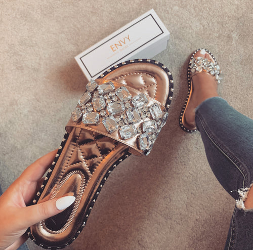 SOFIA JEWEL ROSE GOLD SLIDERS