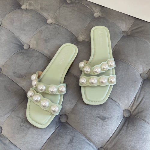 KARA SAGE GREEN PEARL SLIDERS