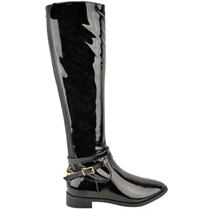EVE PATENT BLACK STRIPE KNEE HIGH BOOTS
