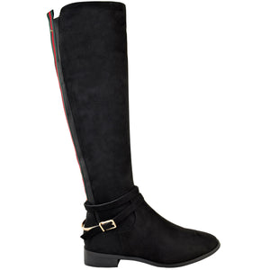 EVE SUEDE BLACK STRIPE KNEE HIGH BOOTS