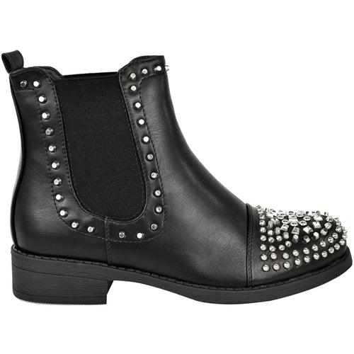 RUBY STUDDED BLACK ANKLE BOOTS
