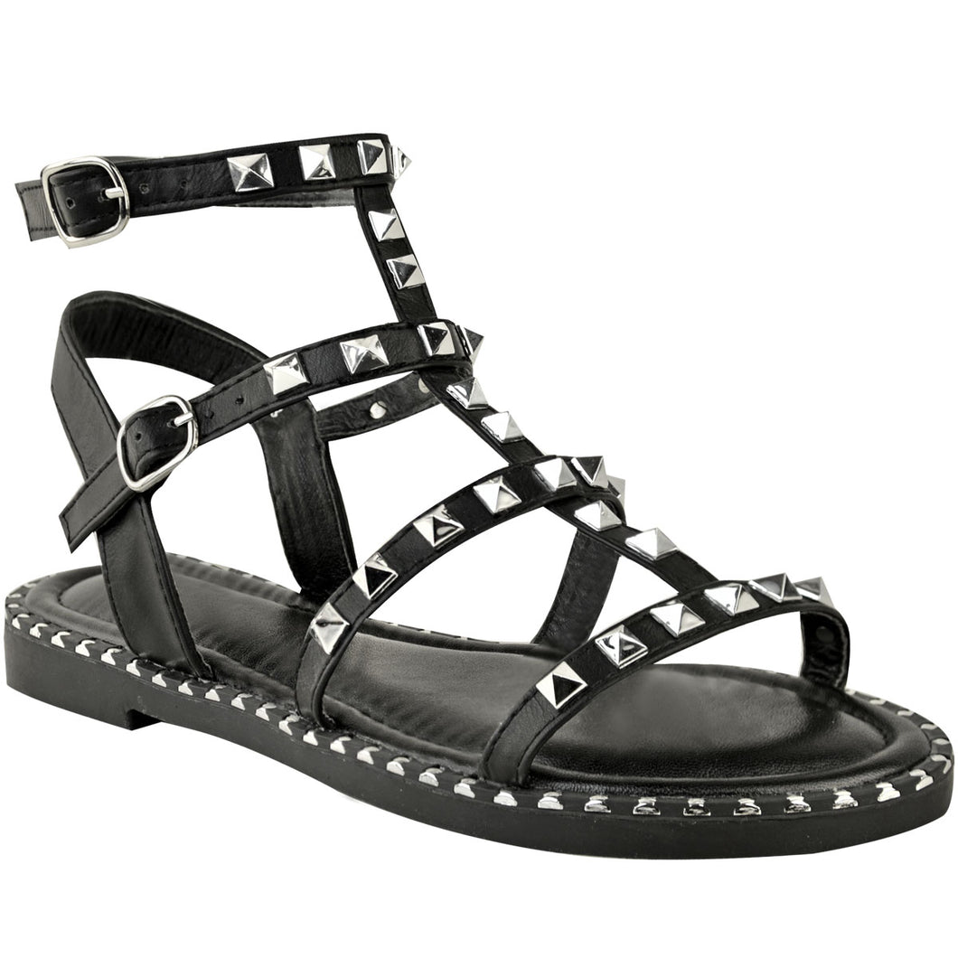 ELLA BLACK STUDDED SANDALS