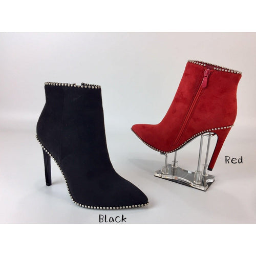 MYA STUDDED SUEDE RED BOOTS
