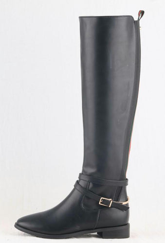 EVE MATTE BLACK STRIPE KNEE HIGH BOOTS