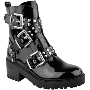 'BAD BEHAVIOUR' BLACK PATENT BIKER BOOTS