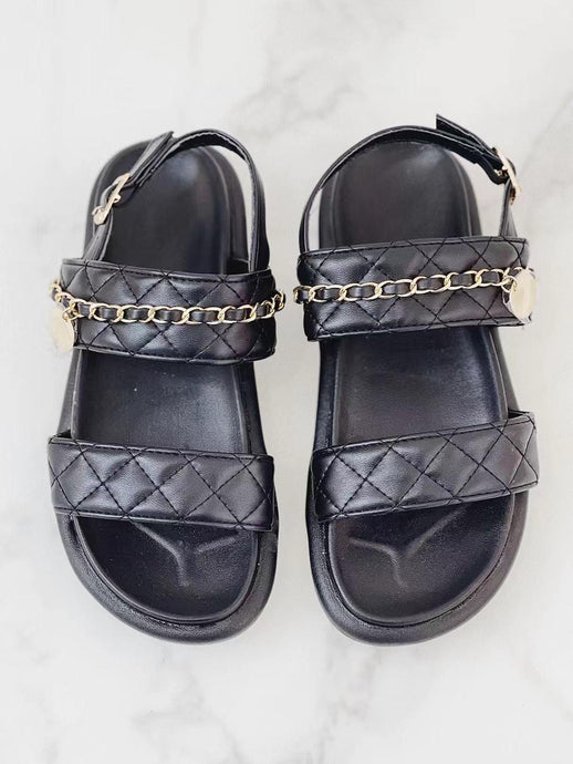 COCO BLACK QUILTED DOUBLE STRAP SANDALS