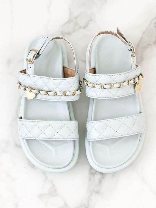 COCO BLUE QUILTED DOUBLE STRAP SANDALS