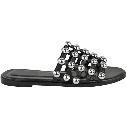 MADISON STUDDED CAGED BLACK SLIDERS