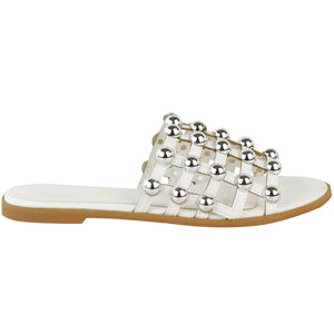 MADISON STUDDED CAGED WHITE SLIDERS