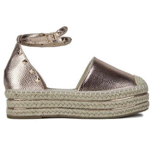 538b79700b1a BELLA STUDDED ROSE GOLD FLATFORM ESPADRILLES – Envy Shoes UK