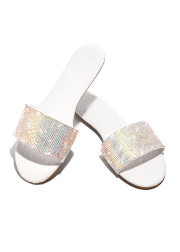 LEORA CROC DIAMANTE WHITE SLIDERS