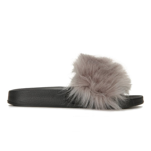 AMIE GREY FUR SLIDES