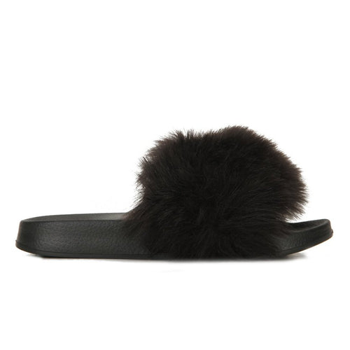AMIE BLACK FUR SLIDES