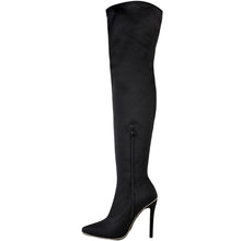AMBER BLACK STUDDED OVER THE KNEE BOOTS