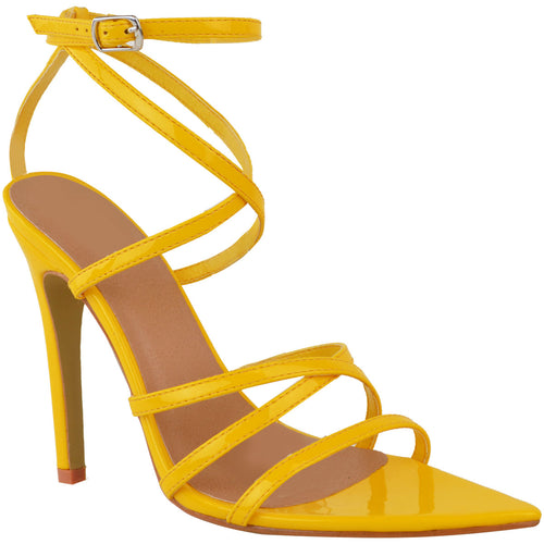 RIHANNA YELLOW STRAPPY HEELS