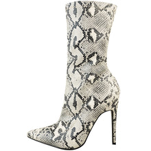 HATTIE SNAKE FAUX LEATHER SOCK BOOTS