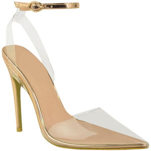 NYASHA ROSE GOLD PERSPEX COURT HEELS