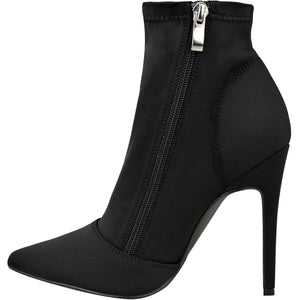 CONNA BLACK ZIP ANKLE BOOTS