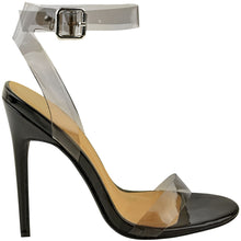 ENVY SHOES GIGI BLACK PERSPEX STRAPPY HEELS