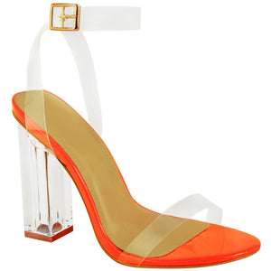 MEGAN NEON ORANGE CLEAR PERSPEX HEELS