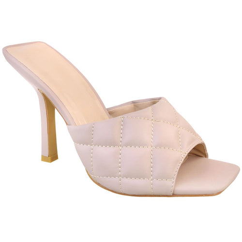 KELSEY NUDE QUILTED HEELED MULES