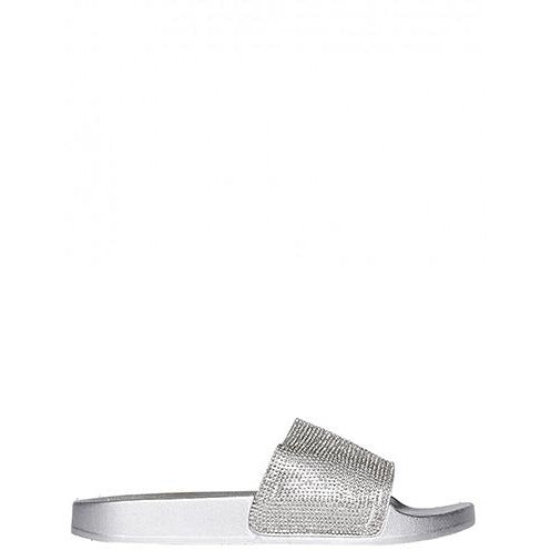 MINI ABBEY SILVER DIAMANTE SLIDES
