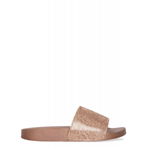 Envy Shoes Abbey Rose Gold Diamante Sliders