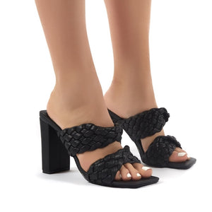 AURORA BLACK WOVEN BLOCK HEELED MULES
