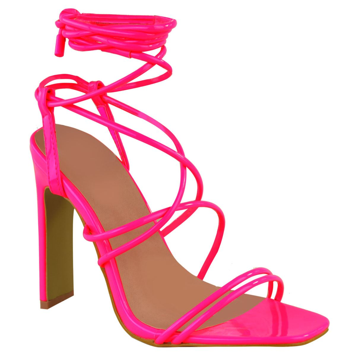 51604ad09f6 COURTNEY NEON PINK STRAPPY SANDAL HEELS – Envy Shoes UK