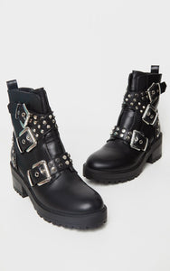 AMBER TURNER 'BAD BEHAVIOUR' BLACK PU BIKER BOOTS