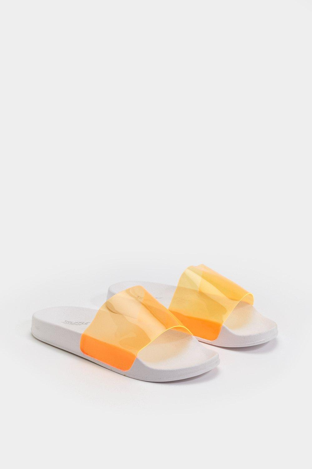 AMBER TURNER 'BEACH PLEASE' NEON ORANGE PERSPEX SLIDES