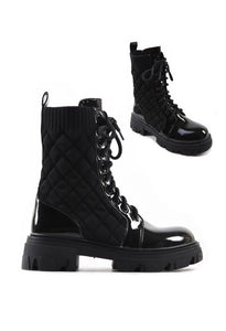 ROBIN BLACK PATENT QUILTED BIKER BOOTS