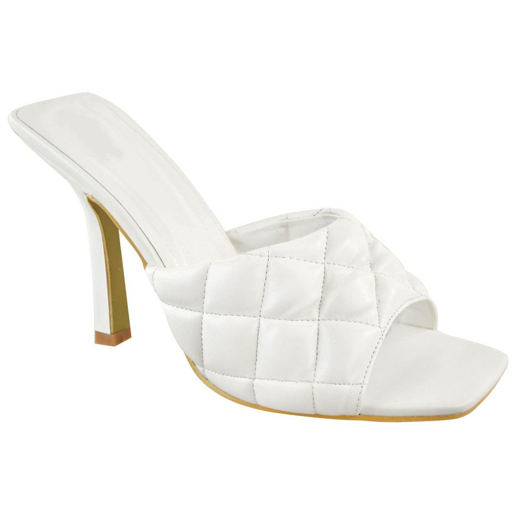 KELSEY WHITE QUILTED HEELED MULES
