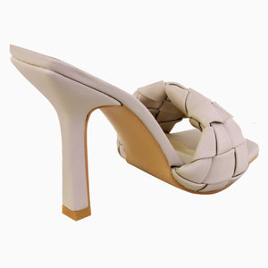BRIDGET NUDE QUILTED HEELED MULES