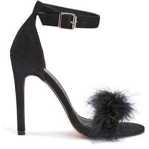 PHOEBE BLACK FEATHER HEELS