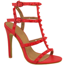 KHLOE RED STUDDED HEELS