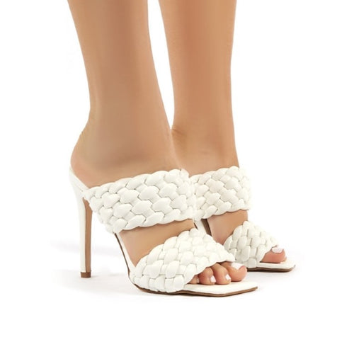 CHRISSIE WHITE WOVEN HEELED MULES