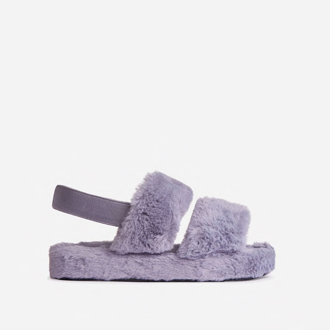 COSY GREY FAUX FUR SLIPPERS