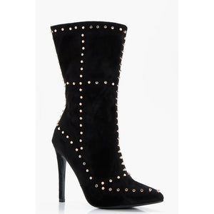 Envy Shoes Ellie Black & Gold Studded Boots