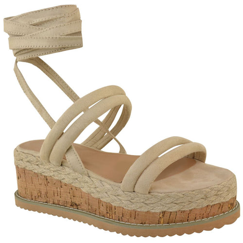 FIFI CREAM LACE UP FLATFORMS