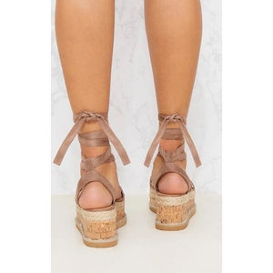 ESME MOCHA LACE UP FLATFORMS