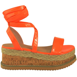 ESME NEON ORANGE LACE UP FLATFORMS