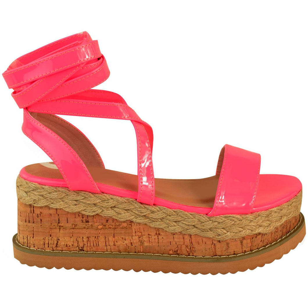 ESME NEON PINK LACE UP FLATFORMS