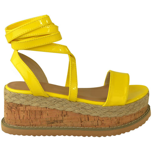 ESME NEON YELLOW LACE UP FLATFORMS